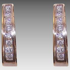 Vintage 14K GOLD Hoop Earrings - Hoops, 1 CT TW, Diamond, White Gold, Yellow Gold, Pierced
