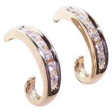 Vintage 14K Gold Earrings - .40CT TW, Diamond, Half Hoops, Pierced