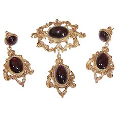 Vintage 9K Gold Set - Cab Garnet, 14K Earwires, Earrings, Pendant, Pin, Original Box