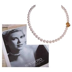"MIKIMOTO Akoya Pearl Necklace - Princess Grace of Monaco, 16"", AA Grade, 24K Gold Clasp, Limited Edition"
