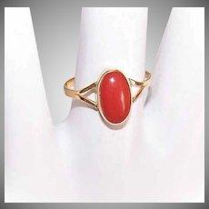 Vintage 18K Gold Ring - Coral, Orange, Oval, Cab, Size 4-3/4, European