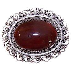 Vintage STERLING SILVER Pin - Carnelian, Filigree, Israel, Oval, Pendant