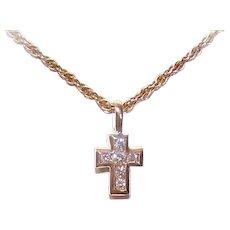 Vintage 14K GOLD Cross - Diamond, Religious, Pendant