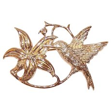 Vintage STERLING SILVER Pin - Vermeil, Gold Wash, Hummingbird, Flower