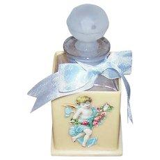 ART DECO Celluloid Perfume Bottle Holder - Single Bottle, Glass, With Stopper