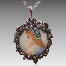 ANTIQUE EDWARDIAN Silver Pendant - 9K Gold, Natural Pearl, Portrait Miniature, Lady