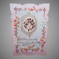 RELIGIOUS Celluloid Card - First Communion, Celluloid, Handpainted