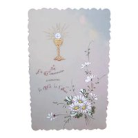 French Celluloid Handpainted Religious Card - First Communion or Confirmation