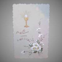 FRENCH Celluloid Religious Card - First Communion, Daisies, Chalice
