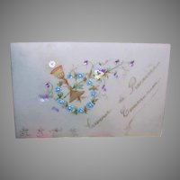 FRENCH Celluloid Religious Card - First Communion, Pansy, Blue Forget Me Nots, Chalice