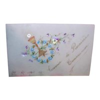 French Religious Handpainted Celluloid Gift Card - First Communion or Confirmation