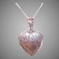 Vintage Sterling Silver Heart Locket Engraved Top