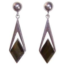 Vintage 950 SILVER Earrings - Mexican, Agate, Drops, Pierced