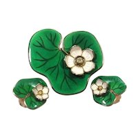 David Andersen Norway Sterling Silver Enamel Lily Pad Set - Earrings and Pin/Brooch