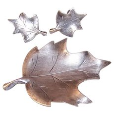 Vintage STERLING SILVER Set - Pin, Brooch, Earrings, Oak Leaf, NYE