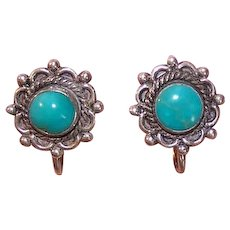 Vintage STERLING SILVER Earrings - Native American, Turquoise, Bell Trading Post