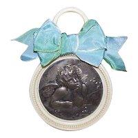 Art Deco FRENCH Crib Protector - Celluloid, Raphael, Cupid, Putti, Angel, Christening