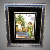Vintage ART DECO Frame - Victorian, Die Cut, Baby Jesus, Angel, Miracles Happen