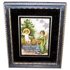 Vintage ART DECO Frame - Victorian, Die Cut, Baby Jesus, Angel, Miracles Happen