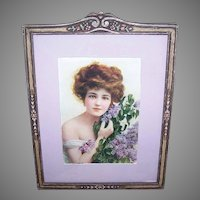Art Nouveau WOOD FRAME - Pastel Florals, Candy Box Print, Lovely Lady, Hyacinth