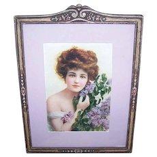 Art Nouveau WOOD FRAME - Pastel Florals, Candy Box Print, Lovely Lady, Hyacinth