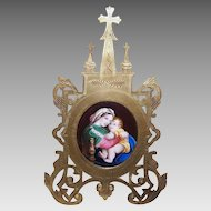 ANTIQUE VICTORIAN Gilt Brass Frame - Porcelain Plaque, Religious, Madonna, Virgin, Child
