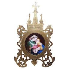 ANTIQUE VICTORIAN Gilt Brass Frame - Porcelain Plaque, Religious, Madonna, Virgin, Child