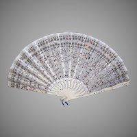 ANTIQUE EDWARDIAN Fan - Silver, Sequin, Tulle, Carved Bone