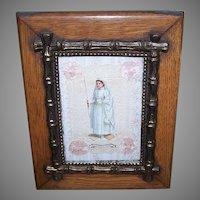 Antique French Framed Souvenir of First Communion Paper Lace Victorian Die Cut Communiante