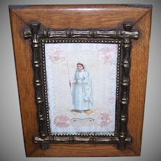 First Communion Image in Antique Wood Brass Frame