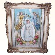 Retro Modern PICTURE FRAME - Metal, Victorian, First Communion, Girl, Angels, Die Cut