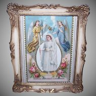Retro Modern PICTURE FRAME - Metal, Victorian, First Communion, Girl, Angels, Die Cut