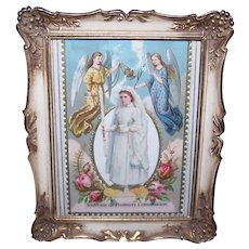 Antique Victorian First Communion Die Cut and Religious Card in Retro Modern Frame