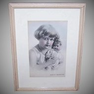 ART DECO Wood Frame - Baby's Treasure, Little Girl, Holding Doll