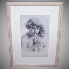 ART DECO Wood Frame - Baby's Treasure, Little Girl, Holding Doll