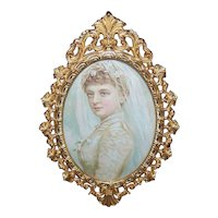 Vintage GILT METAL Frame - Oval, With Easel, Victorian Bride Print