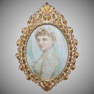 Vintage GILT METAL Frame - Oval, With Easel, Victorian Bride Print