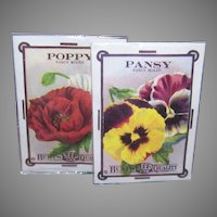 Pair VINTAGE UNOPENED Packaged Sachets - Old Print Factory, Poppy, Pansy
