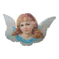 The Old Print Factory Unopened Victorian Revival Reproduction Die Cut - Angel With Glitter