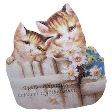 The OLD PRINT Factory - Pair, Vintage, Die Cut, Magnetic, Card, Cats