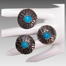 Set/3 NATIVE AMERICAN Sterling Silver Buttons - Turquoise Cab, Scalloped, Dome