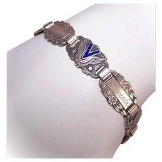 Vintage STERLING SILVER Bracelet - Enamel, Forget Me Not, World War II, Sweetheart