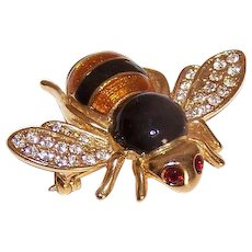 Vintage COSTUME Pin - Honey Bee, Gold Tone Metal, Enamel, Rhinestone