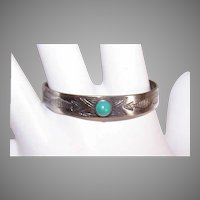 Vintage 900 COIN SILVER Bracelet - Turquoise, Engraved, Baby, Cuff, Native American