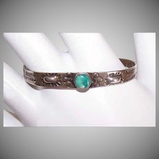 Vintage STERLING SILVER Bracelet - Turquoise, Native American, Baby, Cuff