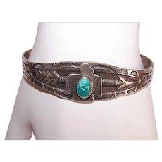 Fred Harvey Era STERLING SILVER Bracelet - Turquoise, Native American, Thunderbird, Cuff