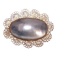 Vintage SILVER GILT Pin - Grey Shell, Middle East, Filigree, Brooch