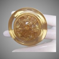 Large Vintage PLASTIC/LUCITE Button - Round, Carved Center, Floral, Amber