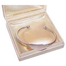Vintage STERLING SILVER Bracelet - Cuff, Baby, Engraveable Shield