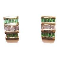 Estate 14K Gold 1.50CT TW Diamond Green Tourmaline Pierced Earrings | Omega Backs